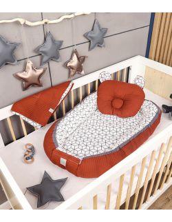 Kokon + koc + poduszka romby rude