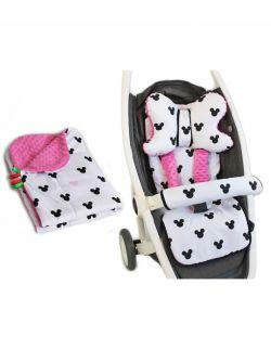 Duży zestaw do wózka z kocykie Miki różowe