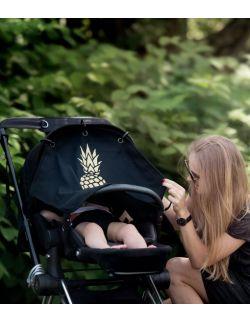 Osłonka do wózka na słońce i wiatr PINEAPPLE GOLD & BLACK