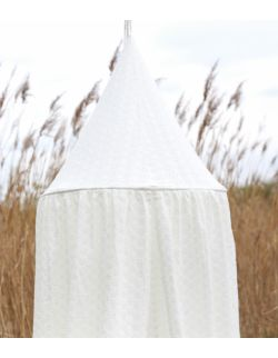 haftowany baldachim dla dzieci z organicznej bawełny kremowy