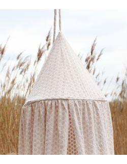 haftowany baldachim dla dzieci z organicznej bawełny jasnobeżowy