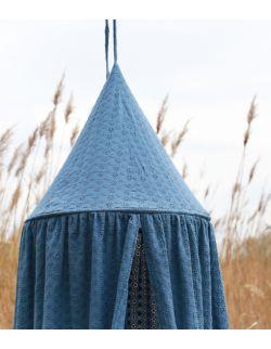 haftowany baldachim dla dzieci z organicznej bawełny indygo