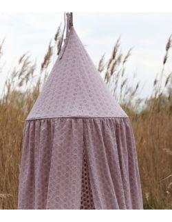 haftowany baldachim dla dzieci z organicznej bawełny wrzos