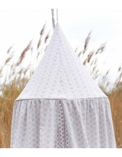haftowany baldachim dla dzieci z organicznej bawełny jasnoszary