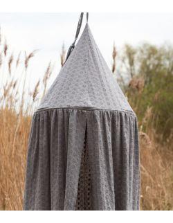 haftowany baldachim dla dzieci z organicznej bawełny ciemnoszary
