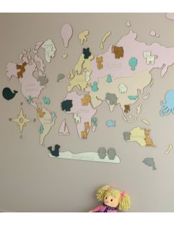 """S PL Drewniana Mapa Świata dla dzieci """"Montessori"""" dla dziewczynki rozmiar S w języku polskim"""