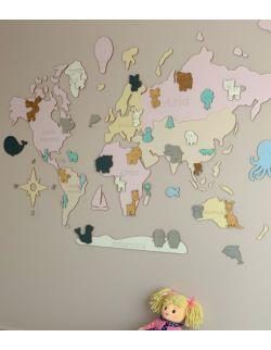 """L PL Drewniana Mapa Świata dla dzieci """"Montessori"""" dla dziewczynki rozmiar L w języku polskim"""
