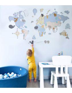 """M PL Drewniana Mapa Świata dla dzieci """"Montessori"""" dla chłopca"""
