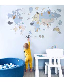"""L PL Drewniana Mapa Świata dla dzieci """"Montessori"""" dla chłopca, rozmiar L w języku polskim"""