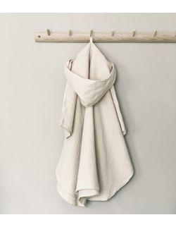 Muślinowy ręcznik ponczo - beżowy