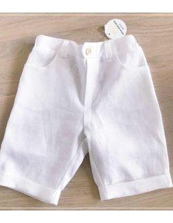 Białe lniane bermudy chłopięce wizytowe spodnie