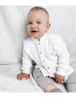 biała elegancka muślinowa koszula dla chłopca roczek chrzest