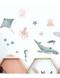 39 naklejek ściennych zwierzęta morskie S