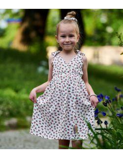 Letnia sukienka dla dziewczynki z wiązanymi ramiączkami - berries