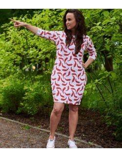 Dresowa sukienka typu tunika z kieszeniami - CHILLI-OUT