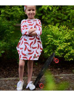 dresowa sukienka typu tunika z kieszeniami dla dziewczynki - CHILLI - OUT