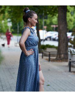 sukienka maxi z wiązanymi ramiączkami - BLUE SKY