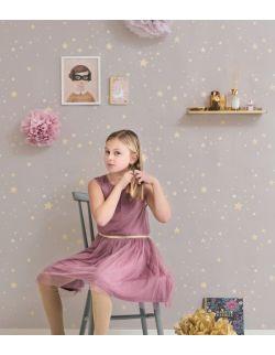 Tapeta szara dla dzieci w gwiazdki Majvillan 1,2,3,4