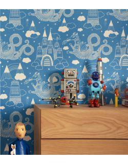 Tapeta niebieska dla dzieci w smoki Majvillan 1,2,3,4