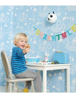 Tapeta błękitna dla dzieci w smoki Majvillan 1,2,3,4