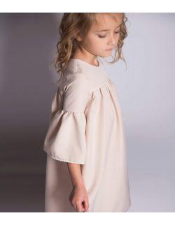 Classy elegancka kremowa sukienka z koronką dla dziewczynki roczek komunia wesele