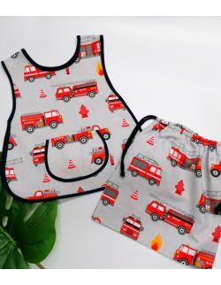 zestaw przedszkolaka - fartuszek i worek strażak