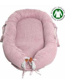 Hi Little One - Kokon gniazdko dla Noworodka z organicznego oddychającego BIO muślinu GOTS NEWBORN NEST BLUSH
