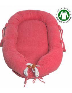 Hi Little One - Kokon gniazdko dla Noworodka z organicznego oddychającego BIO muślinu GOTS NEWBORN NEST CORAL