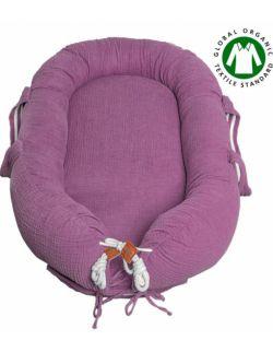 Hi Little One - Kokon gniazdko dla Noworodka z organicznego oddychającego BIO muślinu GOTS NEWBORN NEST LAVENDER