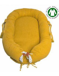 Hi Little One - Kokon gniazdko dla Noworodka z organicznego oddychającego BIO muślinu GOTS NEWBORN NEST MUSTARD