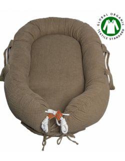 Hi Little One - Kokon gniazdko dla Noworodka z organicznego oddychającego BIO muślinu GOTS NEWBORN NEST DARK OAK LIGHT