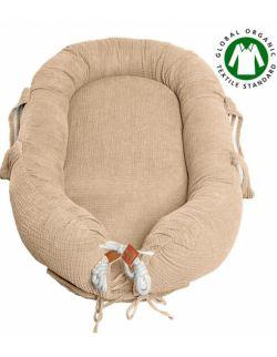 Hi Little One - Kokon gniazdko dla Noworodka z organicznego oddychającego BIO muślinu GOTS NEWBORN NEST BEIGE