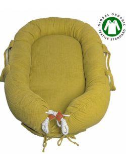Hi Little One - Kokon gniazdko dla Noworodka z organicznego oddychającego BIO muślinu GOTS NEWBORN NEST OLIVE
