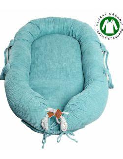 Hi Little One - Kokon gniazdko dla Noworodka z organicznego oddychającego BIO muślinu GOTS NEWBORN NEST TIFFANY