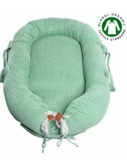 Hi Little One - Kokon gniazdko dla Noworodka z organicznego oddychającego BIO muślinu GOTS NEWBORN NEST MINT