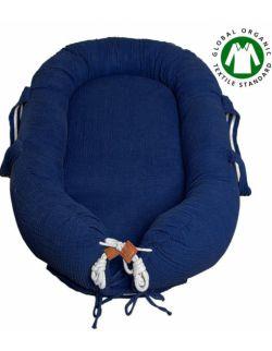 Hi Little One - Kokon gniazdko dla Noworodka z organicznego oddychającego BIO muślinu GOTS NEWBORN NEST NAVY