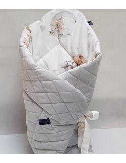 ROŻEK niemowlęcy 75x75 cm MISIE IDĄ SPAĆ Ultra Soft Velvet szary pikowany w caro