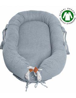 Hi Little One - Kokon gniazdko dla Noworodka z organicznego oddychającego BIO muślinu GOTS NEWBORN NEST GREY