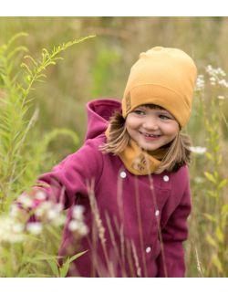 Jesienna czapka z kominem-karmel.