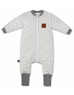 Śpiworek do spania z nóżkami szare wzory bawełna Premium