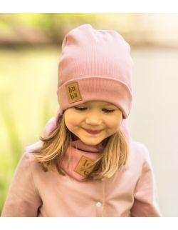Jesienna czapka z kominem- peoniowy róż