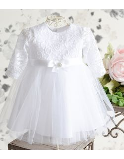 Sukienka do chrztu Blanka z długim rękawem biała