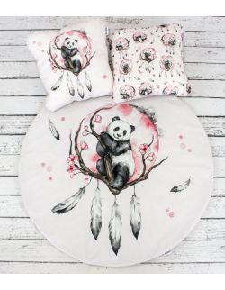 Panda Boho Welurowa mata do zabawy oraz dwie poduszki