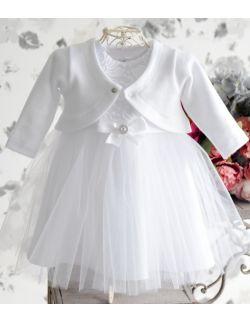 Bolerko sweterek niemowlęcy do chrztu biały