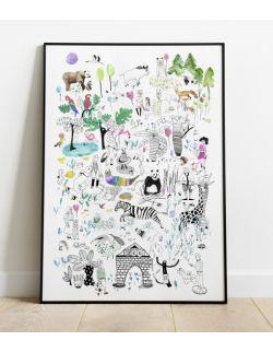 plakat do pokoju dziecka   50 x 70   Zoo