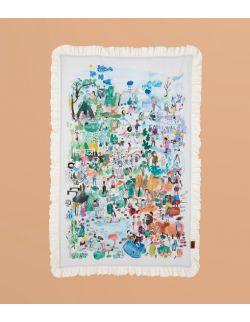 Mata edukacyjna miękka/Narzuta | dzikiedzieci | 100x150 cm | wersja z falbanką