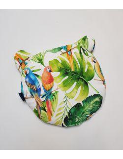 Okrągła Poduszka Bambusowa Uszak srednica 32 cm Kolorowe Papugi