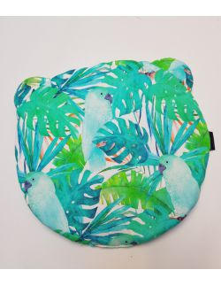 Okrągła Poduszka Bambusowa Uszak srednica 32 cm Zielone Papugi