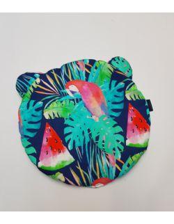 Okrągła Poduszka Bambusowa Uszak srednica 32 cm Papugi i arbuzy