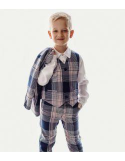 Lux Navy komplet do chrztu dla chłopca spodnie kamizelka